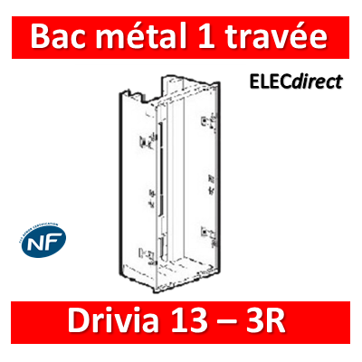 Legrand - Bac métal 1 travée Drivia 13 - coffret 3R + platine + coffret com. - 401442