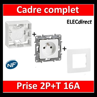 Legrand Niloé - Cadre saillie 1 poste complet - Prise de courant - 664798+665001+664735