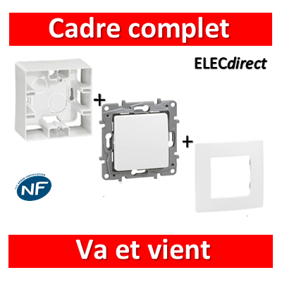Legrand Niloé - Cadre saillie 1 poste complet - Va et vient - 664798+665001+664701