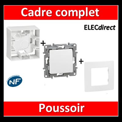 Legrand Niloé - Cadre saillie 1 poste complet - Poussoir - 664798+665001+664705