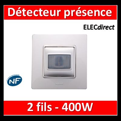 Legrand Niloé - Interrupteur automatique 2 fils 400W + plaque - Blanc - 665118+665001