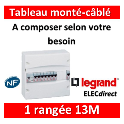 Legrand - Tableau monté-câblé 1 rangée 13 modules à composer
