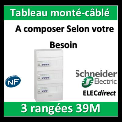 Schneider - Tableau monté-câblé 3 rangées 39 modules RESI9