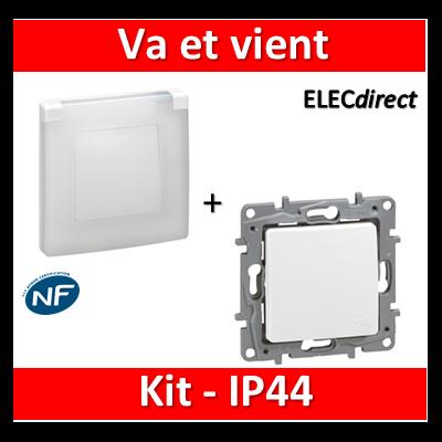 Legrand Niloé - Va et vient - Kit IP44 - étanche à l'air - 664721+665000