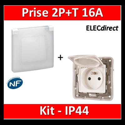 Legrand Niloé - Prise 2P+T 16A - Kit IP44 - étanche à l'air - 664748+665000