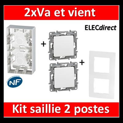 Legrand Niloé - Kit Cadre saillie 2 postes complet - 2xVa et vient - 664799+665002+664701x2
