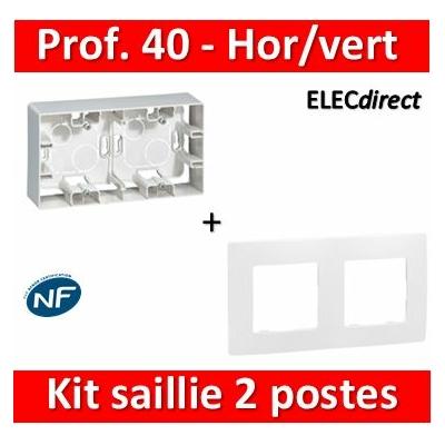 Legrand Niloé - Cadre saillie 2 postes + plaque - Hor/Vert - 664799+665002