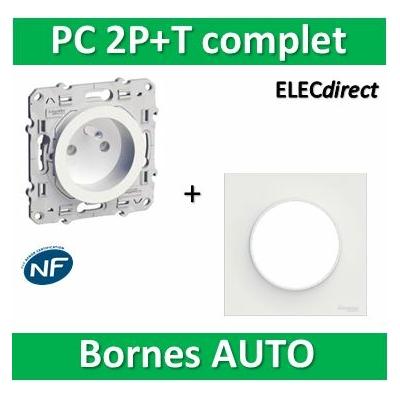 Schneider Odace - Prise de courant + plaque - complet - 2P+T 16A - 250V - s520059+s520702