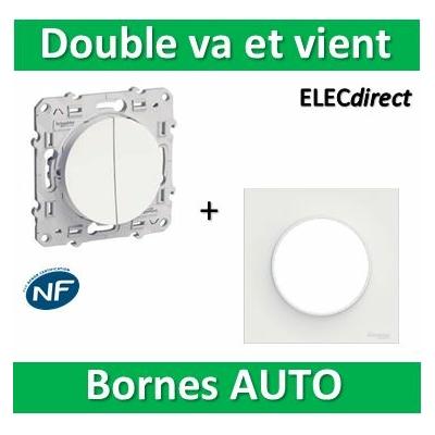 Schneider Odace - Double Va-et-vient + plaque - complet - 10A - 250V - s520214+s520702