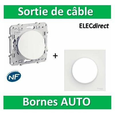 Schneider Odace - Sortie de câble + plaque - complet - Fixation VIS - s520662+s520702
