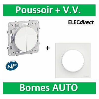 Schneider Odace - Va-et-vient + poussoir + plaque - complet - 250V - s520285+s520702