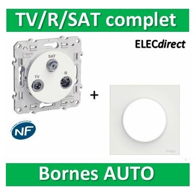 Schneider Odace - Prise TV-FM-SAT + plaque - complet - s520461+s520702