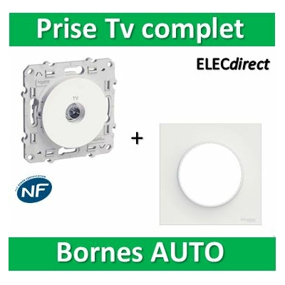Schneider Odace - Prise TV simple + plaque - complet - s520445+s520702