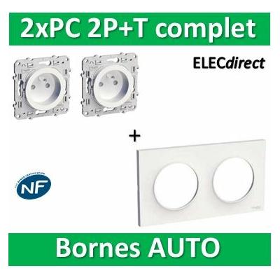 Schneider Odace - 2xPrise de courant - 2P+T 16A + plaque - complet - 250V - s520704+s520059x2