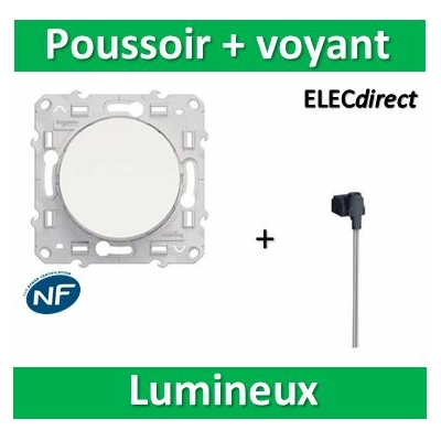 Schneider Odace - Bouton poussoir lumineux LED orange - 10A - 250V - s520206+s520290