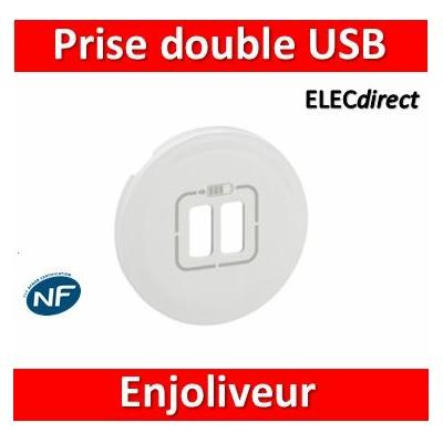 Legrand Céliane - Enjoliveur Double prise USB blanc - 068256