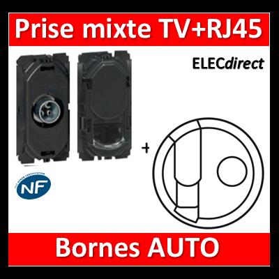 Legrand Céliane - Mécanisme + enjoliveur Prise mixte TV + RJ45 Cat6 FTP - 067382+067345+068239