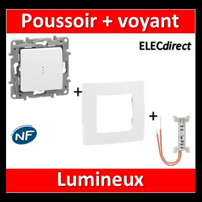 Legrand Niloé - Poussoir 6A + voyant lumineux - complet - Blanc - 664726+665001