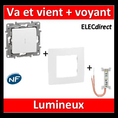 Legrand Niloé - Va et Vient 10A + voyant lumineux - complet - Blanc - 664710+665090+665001