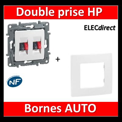 Legrand Niloé - Double prise haut-parleur + plaque Blanc - 664781+665001