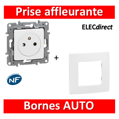Legrand Niloé - Prise affleurante 2P+T 16A + plaque Blanc - 664737+665001