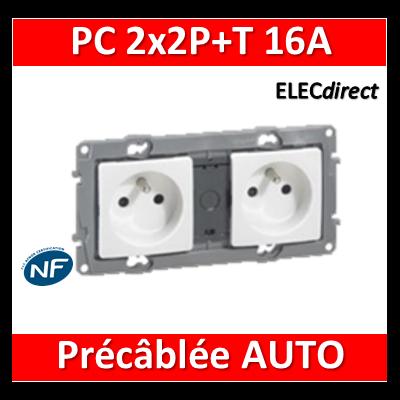 Legrand Niloé - Prise de courant 2x2P+T 16A pré-câblé - Blanc - 664745