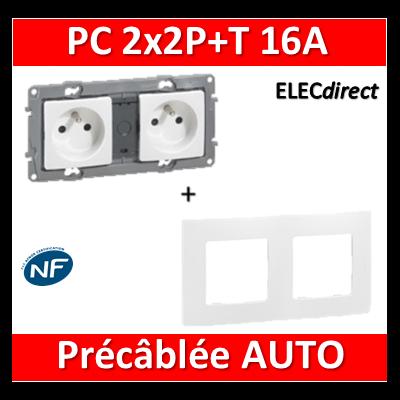 Legrand Niloé - Prise de courant 2x2P+T 16A pré-câblé + plaque - Blanc - 664745+665002