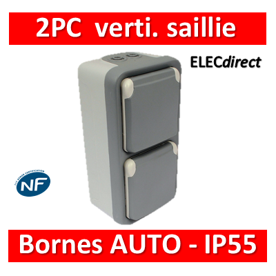 Legrand Plexo - Double prise de courant 2P+T 16A 230V - vertical - IP55/IK07 - 069661+069563
