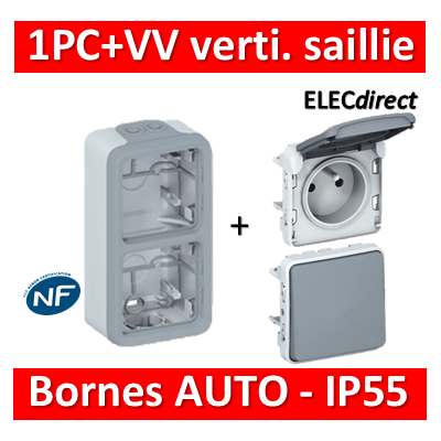 Legrand Plexo - PC + VV - 230V - vertical - IP55/IK07 - 069661+069511+069551