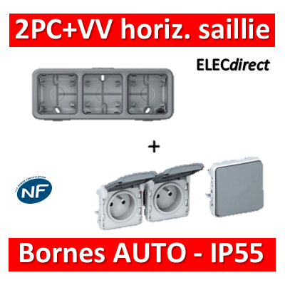 Legrand Plexo - 2PC + VV 230V - horizontal - IP55/IK07 - 069680+069562+069511
