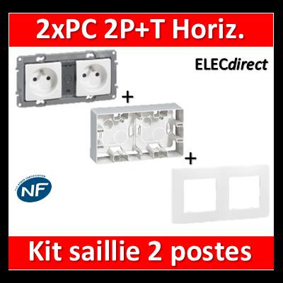 Legrand Niloé - Kit Cadre saillie 2 postes complet - 2xPC 2P+T - précâblée - 664799+665002+664745