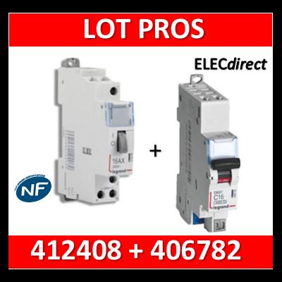 Legrand - Télérupteur CX3 - Unipolaire 16A - 230V + disjoncteur 10A DNX3 AUTO - 412408+406782