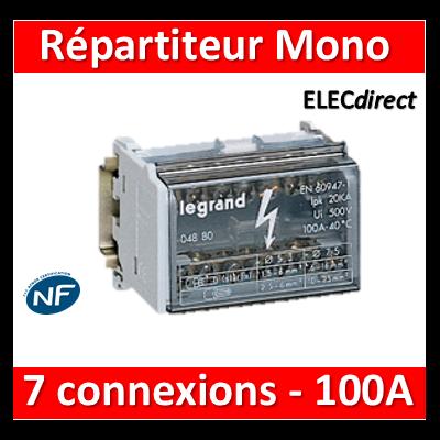Legrand - Répartiteur MONO - 7 connexions - 4 modules - 100A - 004880