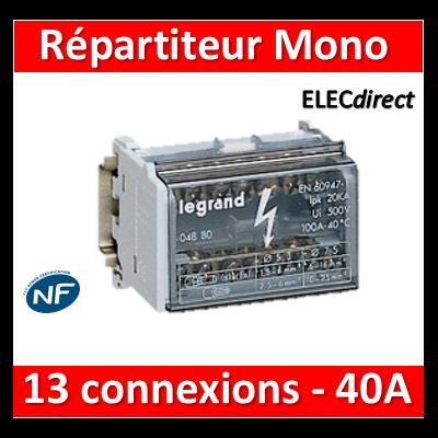 Legrand - Répartiteur MONO - 13 connexions - 6 modules - 40A - 004881