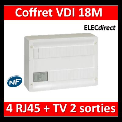 Legrand - Coffret VDI GRADE 1 et 2 avec brassage 18M - 4 RJ45 - 418218
