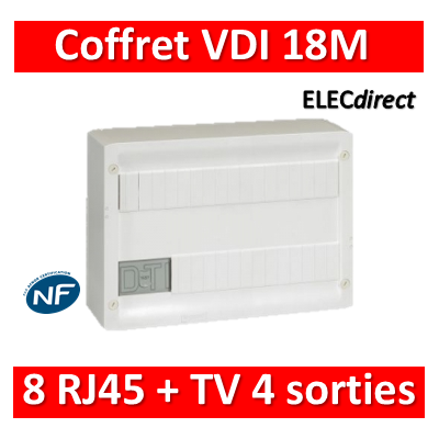 Legrand - Coffret VDI GRADE 1 et 2 avec brassage 18M - 8 RJ45 - 418219