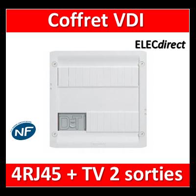 Legrand - Coffret VDI GRADE 1 et 2 avec brassage - 4 RJ45 - 413218