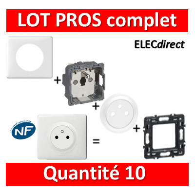 Legrand Céliane - LOT PROS - PC 2P+T 16A Surface - complet - blanc 1 poste x10