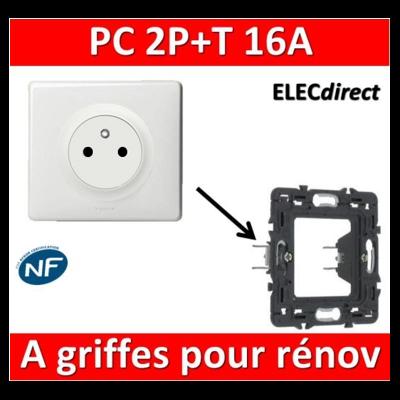 Legrand Céliane - PC 2P + T 16A complet blanc - 1 poste à griffes pour rénovation