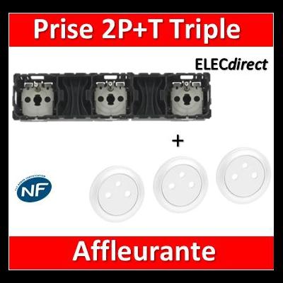 Legrand Céliane - Mécanisme + enjoliveur Triple PC 2P+T 16A - Précâblée - 067126+068111x3