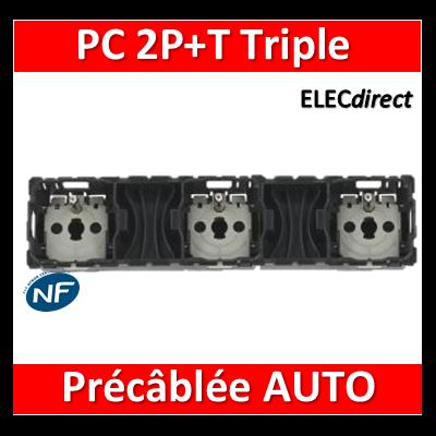 Legrand Céliane - Mécanisme Triple PC 2P+T 16A - Précâblée - 067126