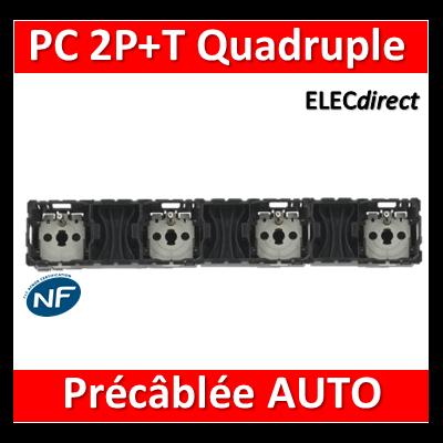 Legrand Céliane - Mécanisme Quadruple PC 2P+T 16A - Précâblée - pour enjoliveur 068125/068114 - 067128