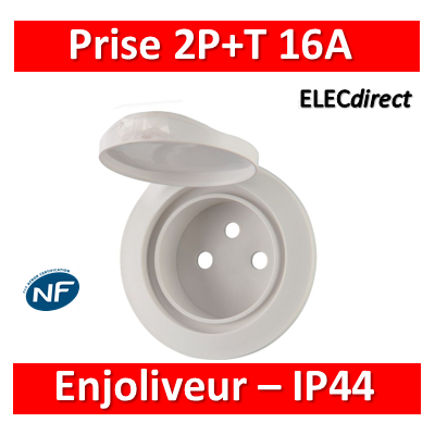Legrand Céliane - Enjoliveur PC 2P+T blanc - IP44 - 067812