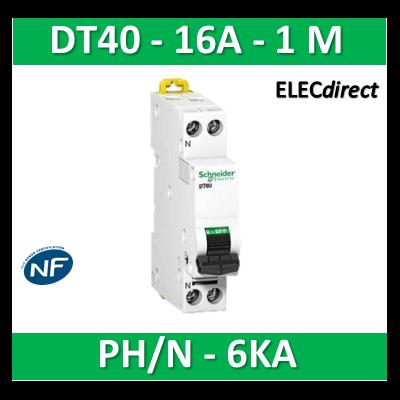 SCHNEIDER - Disjoncteur Ph/N 16A DT40 - 6KA - SCHA9N21025