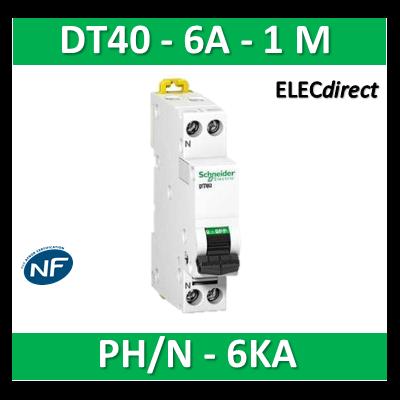 SCHNEIDER - Disjoncteur Ph/N 6A DT40 - 6KA - SCHA9N21023
