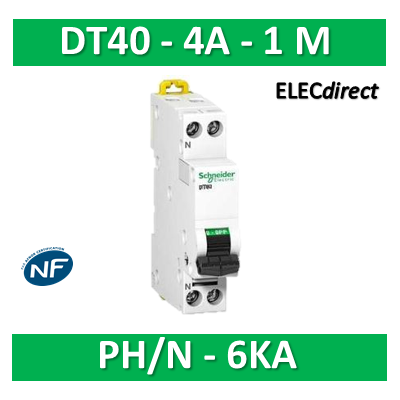 SCHNEIDER - Disjoncteur Ph/N 4A DT40 - 6KA - SCHA9N21022
