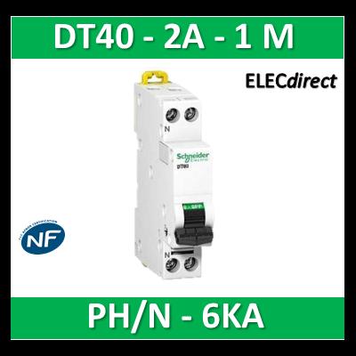 SCHNEIDER - Disjoncteur Ph/N 2A DT40 - 6KA - SCHA9N21020