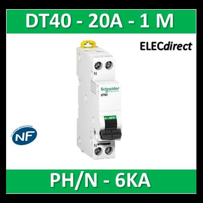 SCHNEIDER - Disjoncteur Ph/N 20A DT40 - 6KA - SCHA9N21026