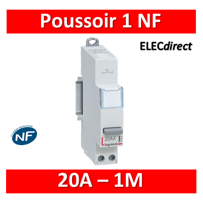 Legrand - Poussoir 20A simple fonction - 250V - 1 NF - 412909