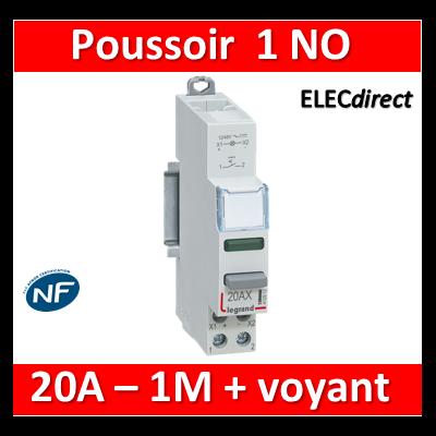 Legrand - Inter à Poussoir 20A double fonction - 250V - 1 NO + voyant vert - 412914